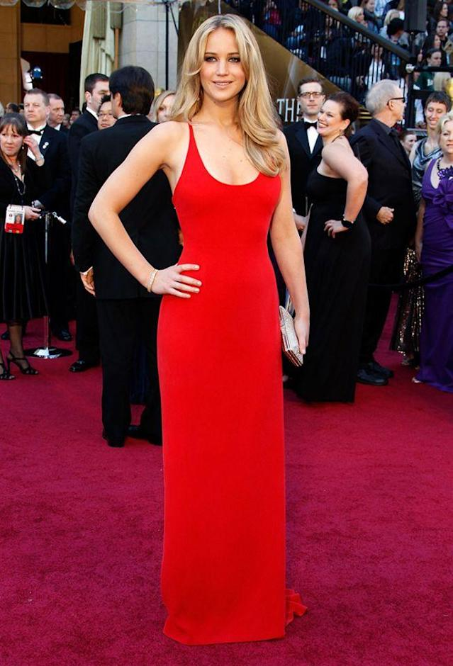 <p>Lawrence receives her first Oscar nomination for her role in <i>Winter's Bone</i>. She is also nominated for a Golden Globe and Independent Spirit award that year. (Photo: Getty Images) </p>