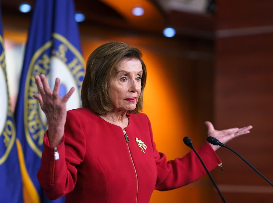 House Speaker Nancy Pelosi, D-Calif., meets with reporters on Sept. 8, 2021, to discuss President Joe Biden's domestic agenda including passing a bipartisan infrastructure bill and pushing through a Democrats-only expansion of the social safety net, at the Capitol in Washington.