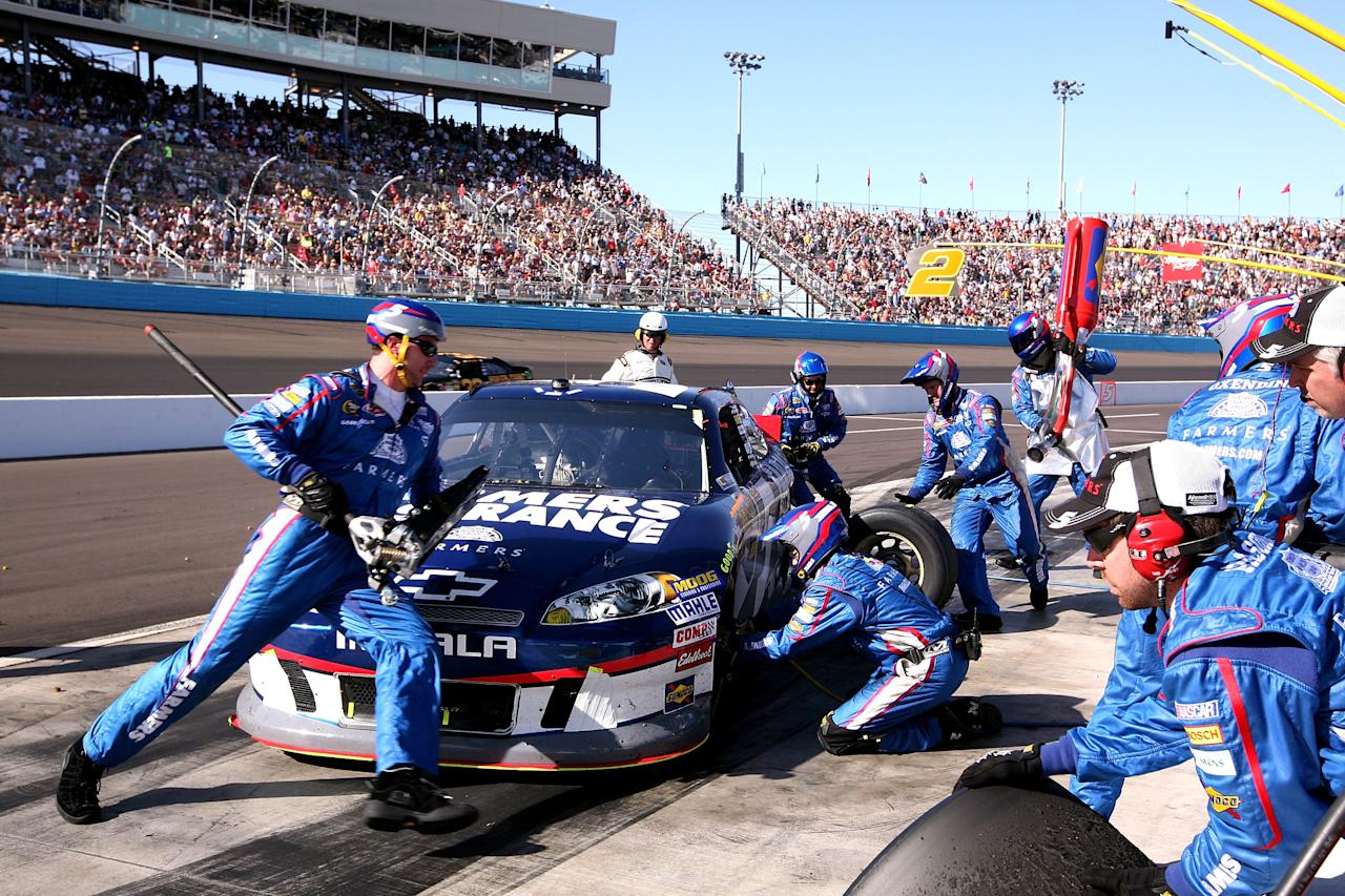 AVONDALE, AZ - MARCH 04:  Kasey Kahne, driver of the #5 Farmers Insurance Chevrolet, pits during the NASCAR Sprint Cup Series SUBWAY Fresh Fit 500 at Phoenix International Raceway on March 4, 2012 in Avondale, Arizona.  (Photo by Jerry Markland/Getty Images for NASCAR)