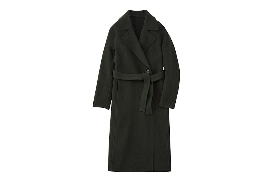 "$150, Uniqlo. <a href=""https://www.uniqlo.com/us/en/women-wool-blend-double-faced-coat-ines-de-la-fressange-432068.html"" rel=""nofollow noopener"" target=""_blank"" data-ylk=""slk:Get it now!"" class=""link rapid-noclick-resp"">Get it now!</a>"