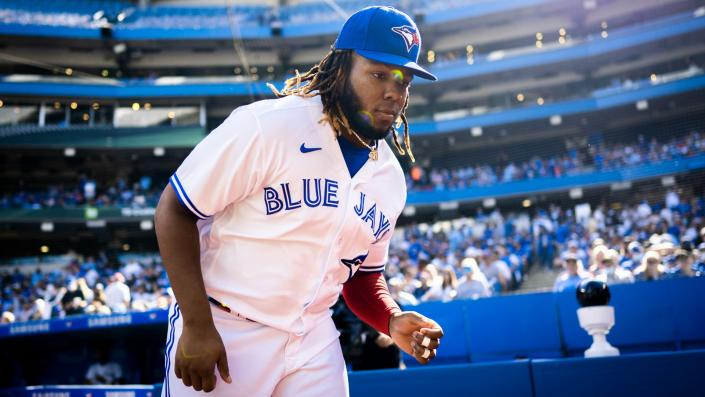 Vladimir Guerrero Jr. has all eyes on him as he vies for the Triple Crown. (Getty)
