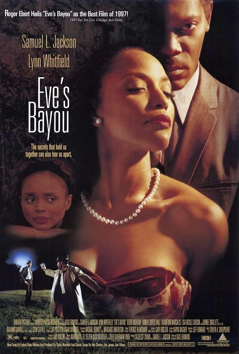 """<p>This 1997 southern gothic drama flick stars heavyweights like Samuel L. Jackson and Diahann Carroll, who plays a voodoo witch. In the film, 10-year-old Eve sees something she wasn't meant to see that reveals secrets and lies within her affluent, prominent family.<br></p><p><a class=""""link rapid-noclick-resp"""" href=""""https://www.amazon.com/Eves-Bayou-Samuel-L-Jackson/dp/B000LQASBE?tag=syn-yahoo-20&ascsubtag=%5Bartid%7C10070.g.37360837%5Bsrc%7Cyahoo-us"""" rel=""""nofollow noopener"""" target=""""_blank"""" data-ylk=""""slk:WATCH NOW"""">WATCH NOW</a></p>"""