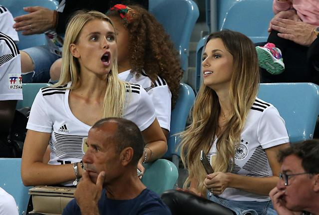 <p>Scarlett Gartmann Girlfriend of Marco Reus of Germany and Christina Raphaella wife of Matthias Ginter of Germany during the 2018 FIFA World Cup Russia group F match between Germany and Sweden at Fisht Stadium on June 23, 2018 in Sochi, Russia. (Photo by Stefan Matzke – sampics/Corbis via Getty Images) </p>