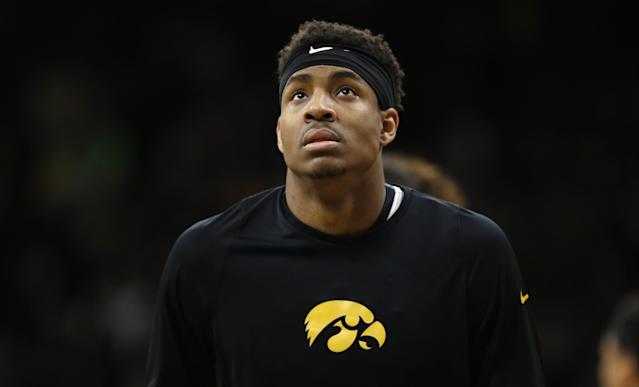 "After three seasons playing basketball at Iowa, <a class=""link rapid-noclick-resp"" href=""/ncaab/players/131550/"" data-ylk=""slk:Ahmad Wagner"">Ahmad Wagner</a> is headed to Kentucky to play football. (AP Photo/Charlie Neibergall)"