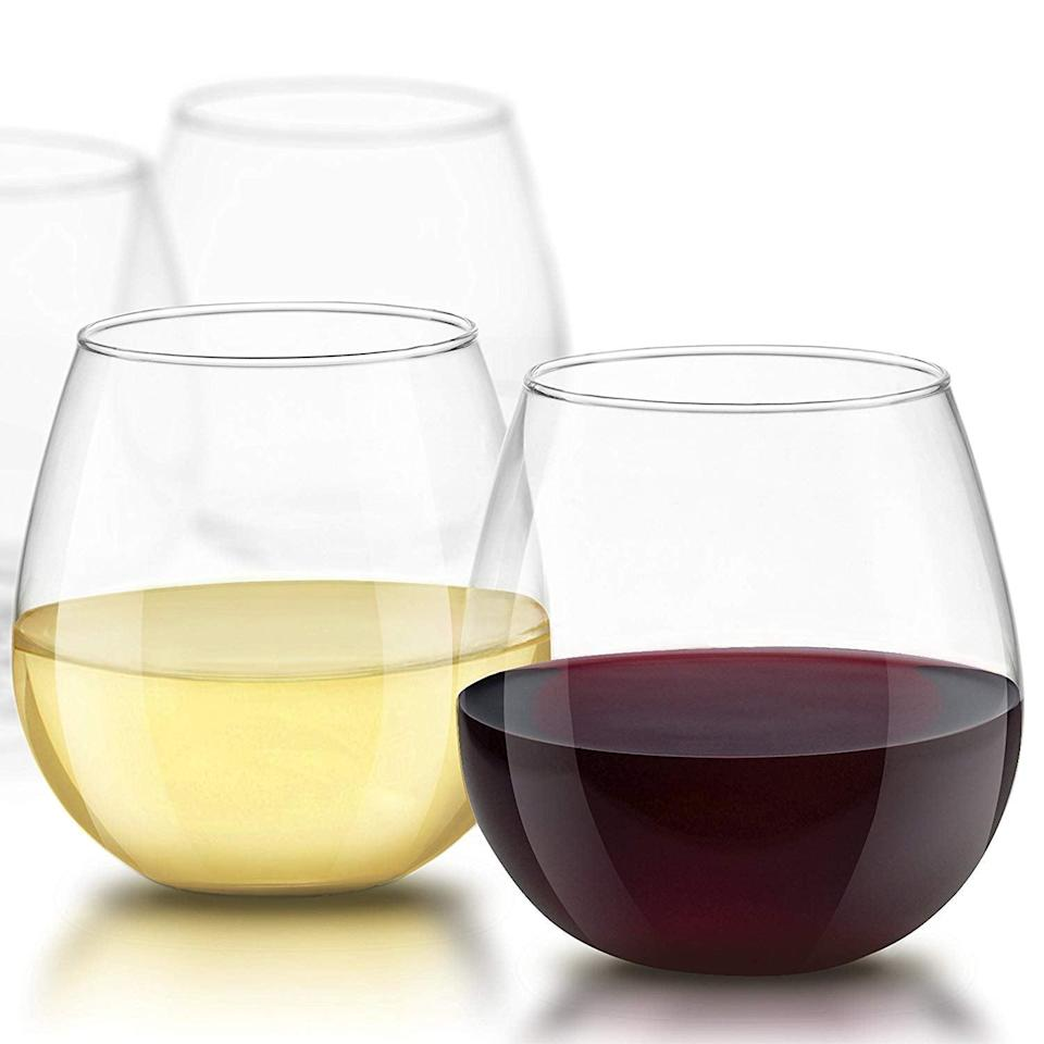 <p>These <span>JoyJolt Spirits Stemless Wine Glasses</span> ($17, originally $22) are strong and wide, which is condusive to a heavy pour.</p>