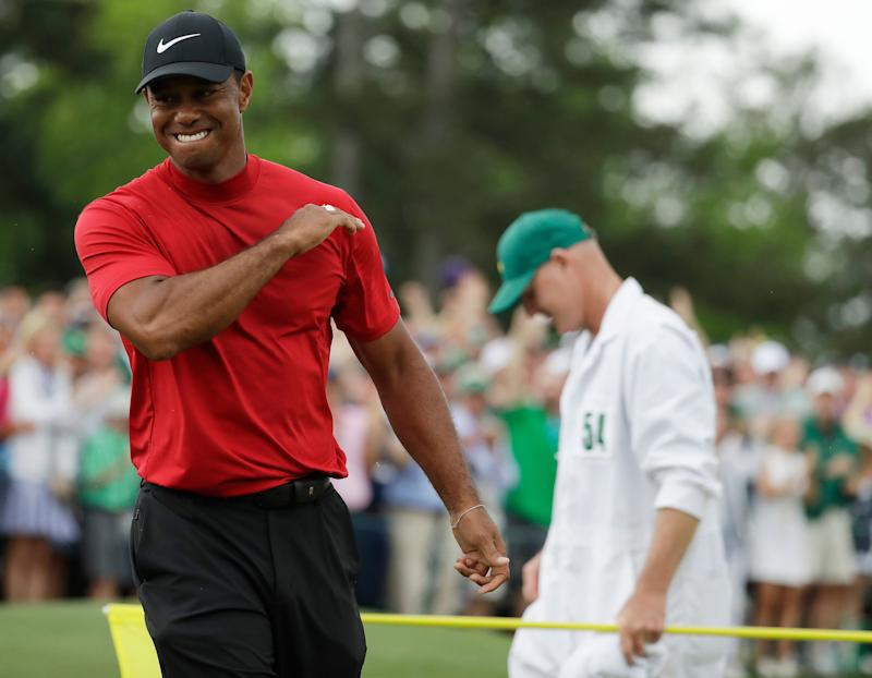 There has been a lot of interest in Tiger Woods' mock-neck look. (AP Photo/Chris Carlson)