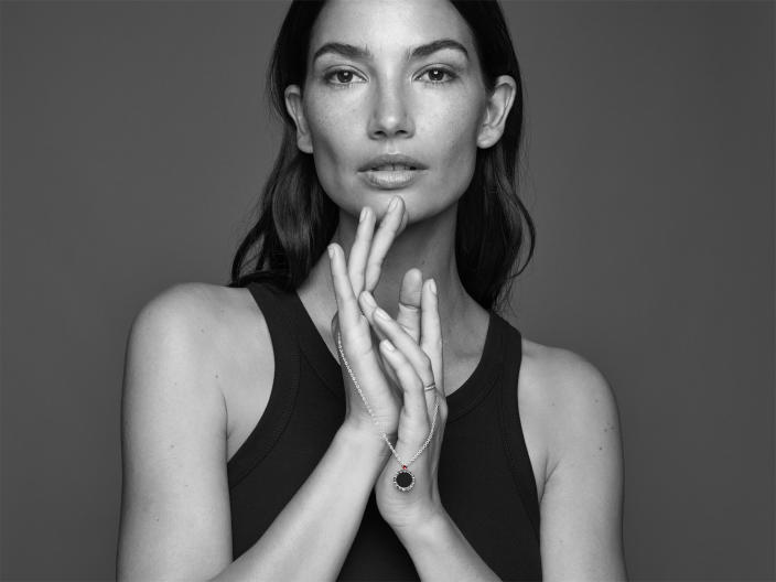 Lily Aldridge poses for the #GiveHope by Bvlgari and Save the Children campaign.