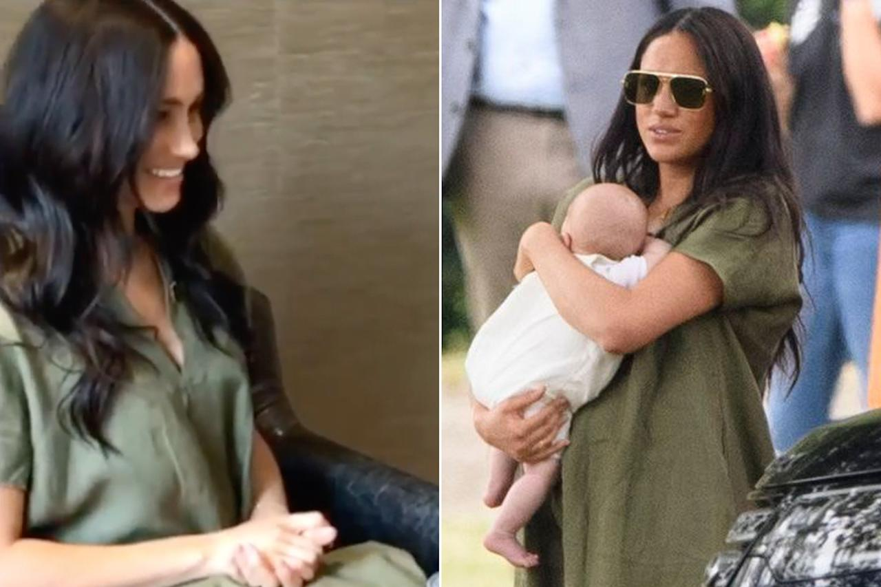 """During her<a href=""""https://people.com/royals/meghan-markle-wears-green-v-neck-dress-again/"""">surprise Skype to chat</a> with the women at the Nalikule College of Education in Malawi, Africa, Meghan wore the same <a href=""""https://www.net-a-porter.com/us/en/product/1225592?gclsrc=aw.ds&cm_mmc=Google-ProductSearch-US--c-_-NAP_EN_US_PLA-_-NAP%C2%A0-%C2%A0US%C2%A0-%C2%A0GS%C2%A0-+Designer+-+Class_Clothing%C2%A0-+Type_Dresses%C2%A0-%C2%A0High%C2%A0-%C2%A0BT--Dresses+-+Maxi_AM&gclid=EAIaIQobChMI_KbG49P45AIVpoNaBR0nnwBGEAQYASABEgL0FvD_BwE&gclsrc=aw.ds"""">short-sleeve khaki green V-neck linen midi dress</a>she wore back in July, when she took baby<a href=""""https://people.com/tag/archie/"""">Archie</a>out to cheer on<a href=""""https://people.com/tag/prince-harry/"""">Prince Harry</a>at the King Power Royal Charity Polo Day.  The frock, by Lisa Marie Fernandez, retails for $595 and is designed for a loose fit."""