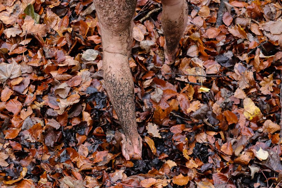 Naturist Chris Hood did a muddy photoshoot in the woods during lockdown.  (PA Real Life)