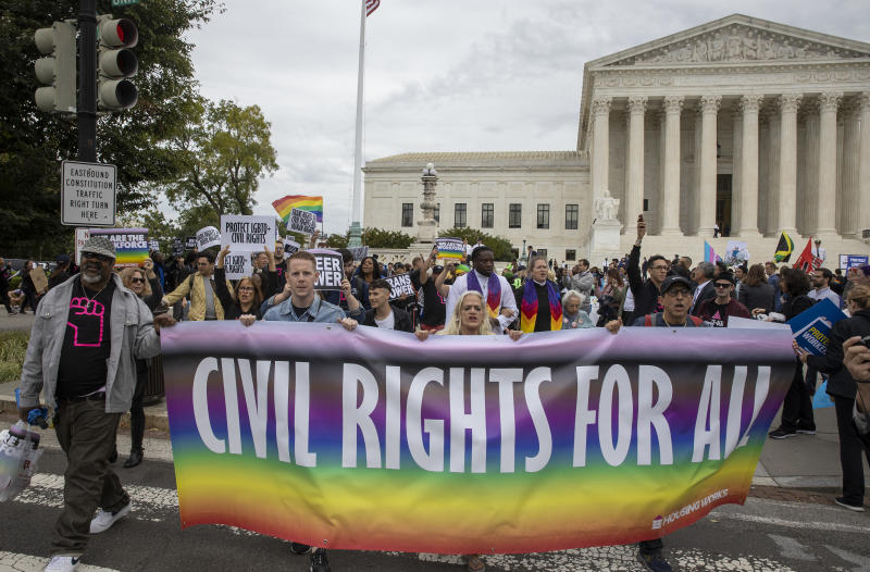 On October 8, 2019, the Supreme Court heard a series of cases to determine whether or not gay and transgender people should be protected under Title VII of the Civil Rights Act of 1964. (Photo: Tasos Katopodis/Getty Images)