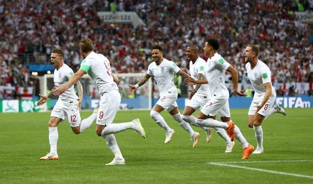 Kieran Trippier celebrates opening the scoring for England in the World Cup semi-final against Croatia