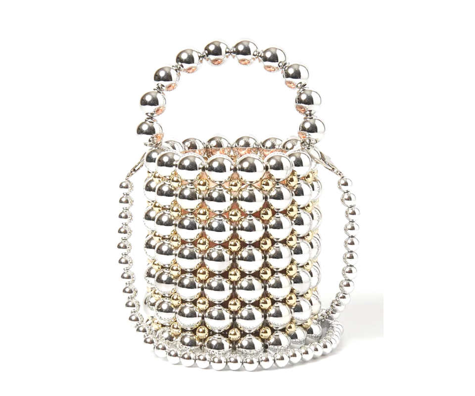 This stunning luminescent pearl handbag will turn heads at your next event. Photo: The Iconic