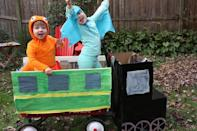 "<p>What's better than a homemade dinosaur costume (or two)? Decking out a red wagon and turning the whole thing into <em>Dinosaur Train</em>!</p><p><em><a href=""https://buzzmills.typepad.com/blog/2012/10/halloween.html"" rel=""nofollow noopener"" target=""_blank"" data-ylk=""slk:Get the tutorial at Buzzmills »"" class=""link rapid-noclick-resp"">Get the tutorial at Buzzmills »</a></em></p>"