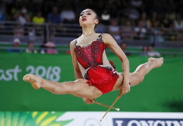 Rhythmic Gymnastics - Gold Coast 2018 Commonwealth Games - Individual Clubs Final - Coomera Indoor Sports Centre - Gold Coast, Australia - April 13, 2018. Katherine Uchida of Canada. REUTERS/David Gray