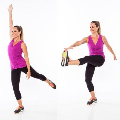 <p>Stand on right leg, knee slightly bent, with left leg extended low behind hip. Extend right arm straight overhead, palm facing forward. Slightly extend spine and lift chest, raising left leg as high as you can, reaching right arm up. Scoop abs into spine and sweep left leg forward, reaching right hand to toes. Return to start. </p> <p><strong>Do 10 reps per side.</strong></p>