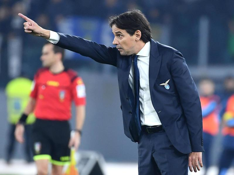 Lazio's head coach Simone Inzaghi gestures during the Italian Serie A soccer match between Lazio and Juventus at the Olympic stadium in Rome, Saturday, Dec. 7, 2019. (Ettore Ferrari/ANSA via AP)