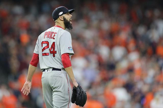 Boston's David Price pitched six shutout innings as the Red Sox dethroned the Houston Astros in five games to reach the 2018 World Series. (AFP Photo/ELSA)