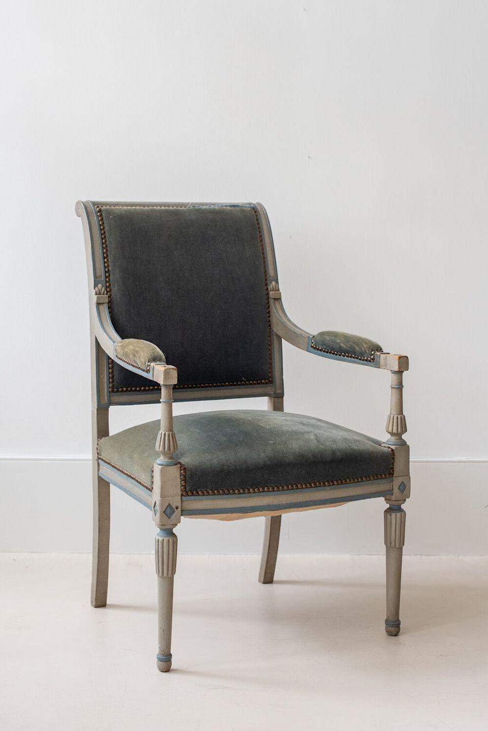 "<p><a class=""link rapid-noclick-resp"" href=""https://www.sundayshop.co/furniture/french-19th-century-second-empire-painted-fauteuil"" rel=""nofollow noopener"" target=""_blank"" data-ylk=""slk:Discover"">Discover</a></p><p>The perfect candidate for a statement piece of furniture, this painted armchair hails from France and stuns with its beautiful detail and gray-blue upholstery. </p>"
