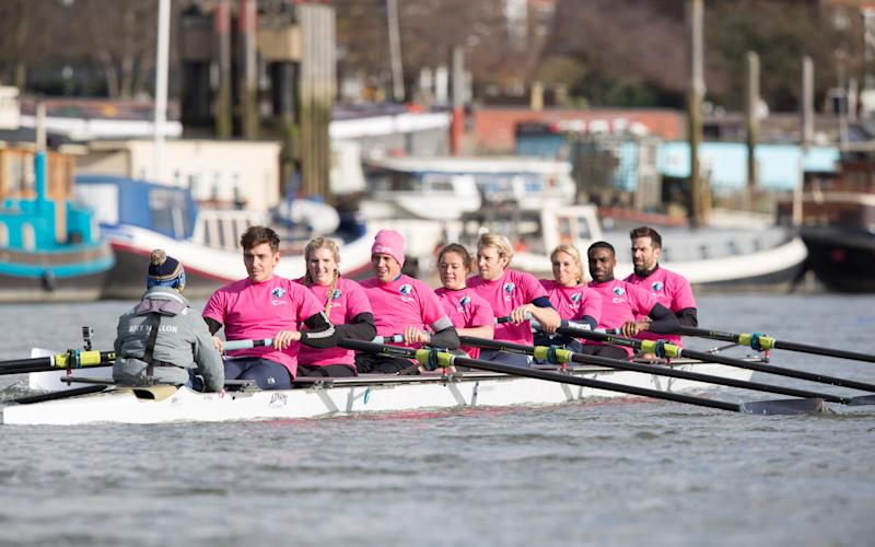 James Cracknell's team, including Rebecca Adlington, Vernon Kay, Andrew Triggs-Hodge, Ore Oduba and Gethin Jones, hits the water. - Credit: PH