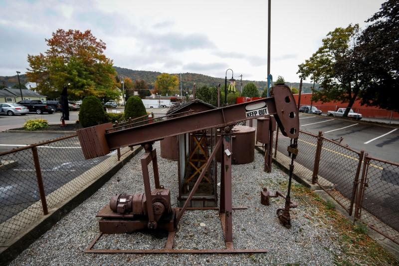 An oil pumpjack operates in the drive-thru area of a McDonald's in Bradford Pennsylvania