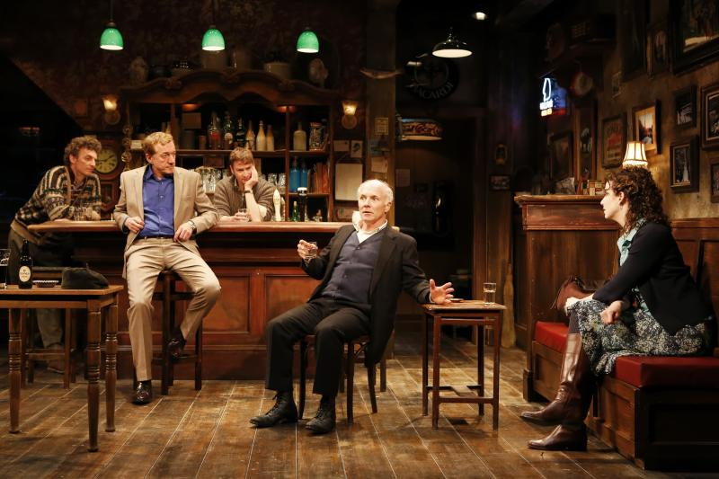 "This undated theater publicity image released by Shirly Herz Associates shows, from left, John Keating, Sean Gormley, Billy Carter, Dan Butler and Tessa Klein, in Conor McPherson's ""The Weir"", currently performing off-Broadway at the Irish Repertory Theatre in New York.  (AP Photo/Shirley Herz Associates, Carol Rosegg)"