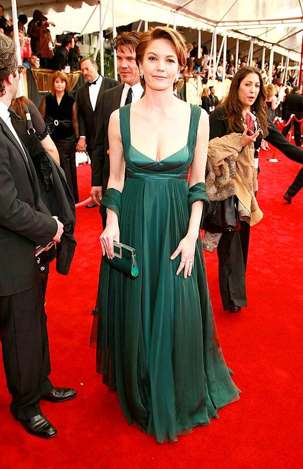"The lovely Diane Lane typically wows on the red carpet, but this emerald green gown isn't doing it for us. Fortunately, her hunky husband Josh Brolin (standing behind Diane) is! Dimitrios Kambouris/<a href=""http://www.wireimage.com"" target=""new"">WireImage.com</a> - January 27, 2008"