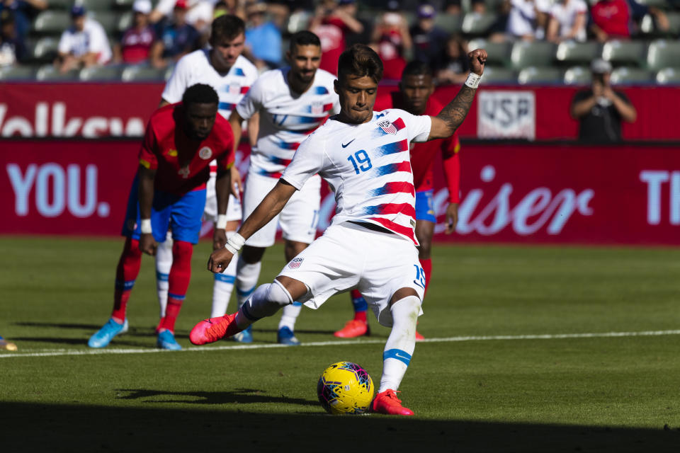Southern California native Ulysses Llanez earned his first cap and scored his first goal for the USMNT on Saturday, honoring Kobe Bryant in the process. (Photo by Ric Tapia/Icon Sportswire via Getty Images)