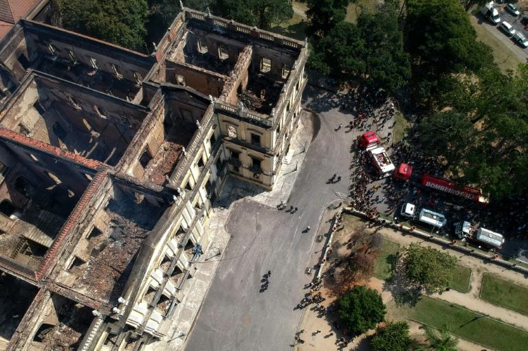 An aerial view shows the aftermath of the huge fire that ripped through Rio de Janeiro's National Museum