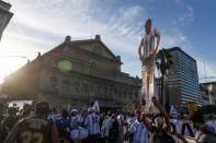 Argentines protest to demand justice after the death of soccer legend Diego Armando Maradona, in Buenos Aires