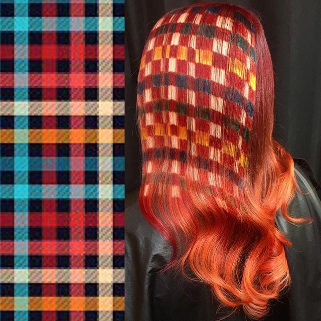 Hair colorist Ursula Goff created a nearly spot on rendition of plaid fabric on one of her clients' hair. (Photo: Instagram/Ursula Goff)