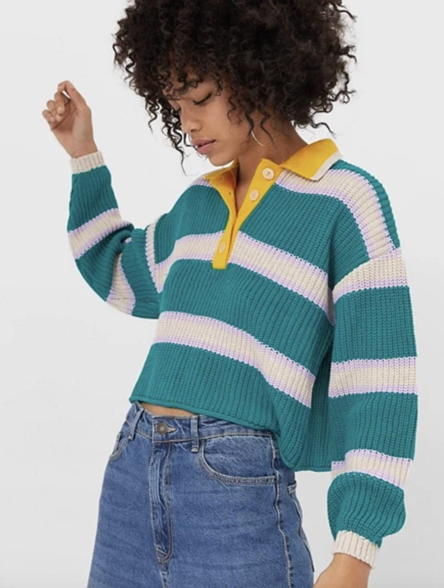 <p>This <span>Stradivarius Striped Rugby Sweater</span> ($46) is so eye-catching.</p>