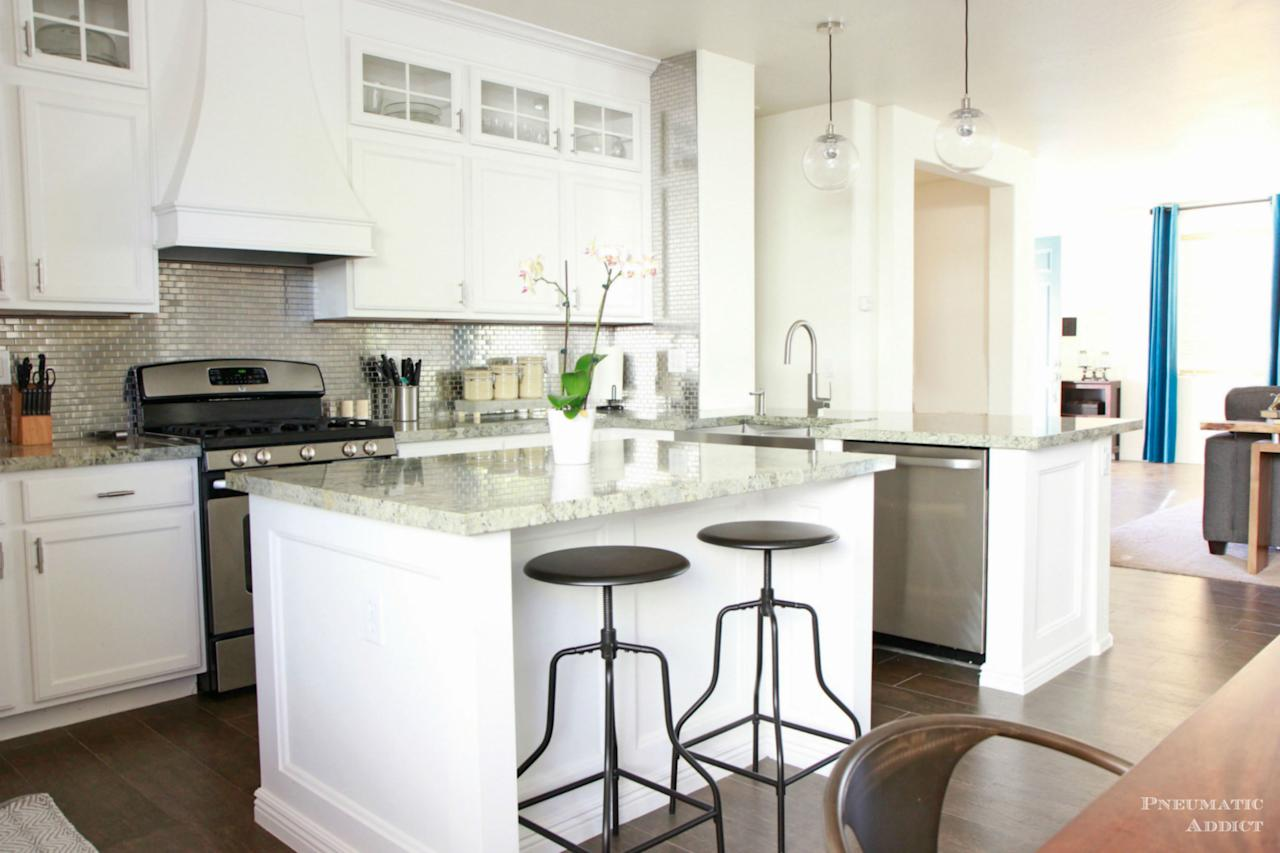 ... the cabinetry and painting it with Snowbound by Sherwin Williams