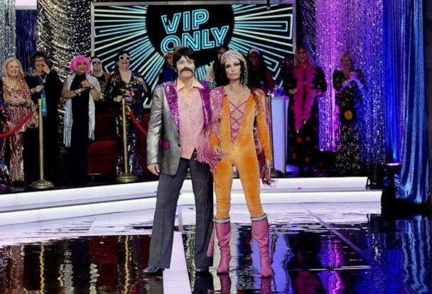 PHOTO: Sara Haines and Amy Robach revealed their costumes as Sonny and Cher on 'Good Morning America,' Oct. 31, 2019. (Paula Lobo/ABC News)