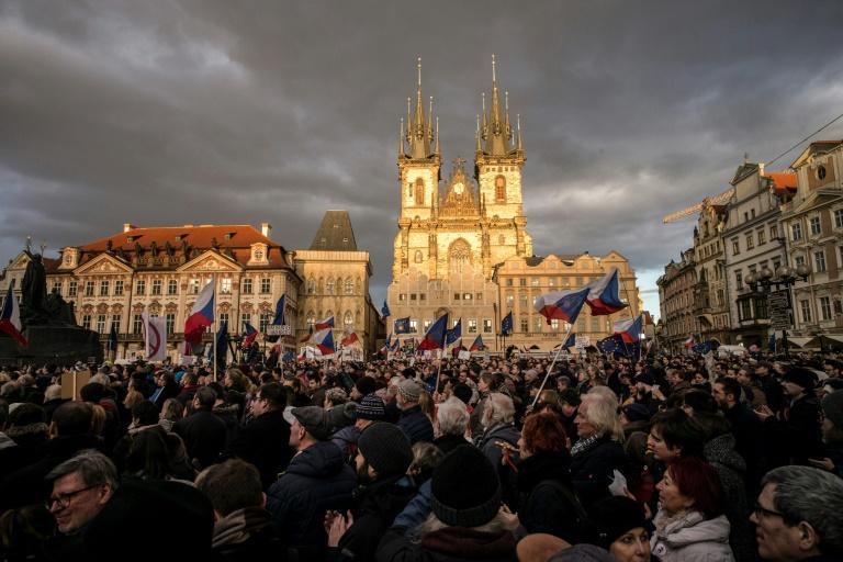 The protesters gathered in Prague's Old Town Square