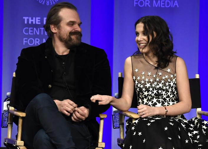 """HOLLYWOOD, CA – MARCH 25:David Harbour and Millie Bobby Brown speak onstage at The Paley Center For Media's 35th Annual PaleyFest Los Angeles – """"Stranger Things"""" at Dolby Theatre on March 25, 2018 in Hollywood, California. (Photo by Frazer Harrison/Getty Images)"""