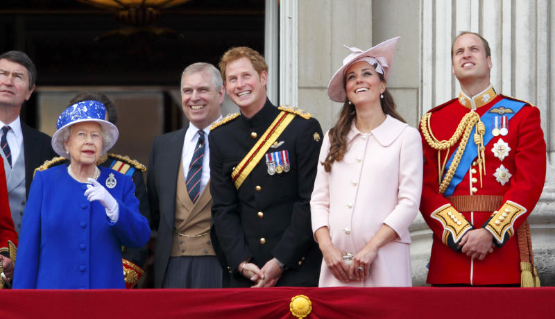 LONDON, UNITED KINGDOM - JUNE 15: (EMBARGOED FOR PUBLICATION IN UK NEWSPAPERS UNTIL 48 HOURS AFTER CREATE DATE AND TIME) Queen Elizabeth II, Prince Andrew, Duke of York, Prince Harry, Catherine, Duchess of Cambridge and Prince William, Duke of Cambridge stand on the balcony of Buckingham Palace during the annual Trooping the Colour Ceremony on June 15, 2013 in London, England. Today's ceremony which marks the Queen's official birthday will not be attended by Prince Philip the Duke of Edinburgh as he recuperates from abdominal surgery. This will also be The Duchess of Cambridge's last public engagement before her baby is due to be born next month. (Photo by Max Mumby/Indigo/Getty Images)