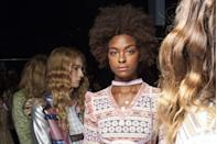 <p>The beauty look at Vivienne Hu was all about a sheer wash of pink on the eyes, cheeks, and lips.</p>