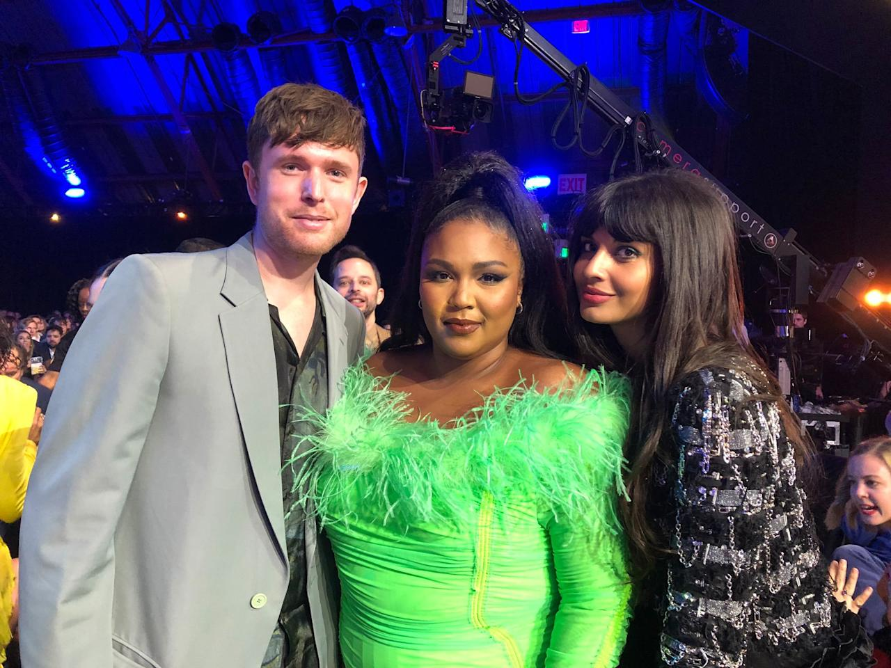 """""""Got to meet the Queen at @MTVAwards @lizzo ❤️ ,"""" the actress <a href=""""https://twitter.com/jameelajamil/status/1140076269830209536?s=20"""">tweeted</a>, along with this photo of her and her boyfriend James Blake posing with the star."""