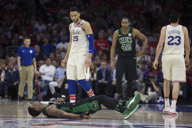 Ben Simmons and the 76ers flattened Marcus Smart and the Celtics on Monday night. (Getty)