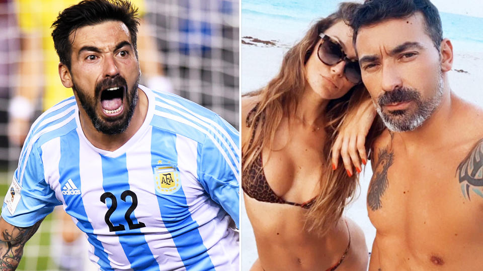 Ezequiel Lavezzi and girlfriend Natalia Borges, pictured here on the football pitch and on Instagram.