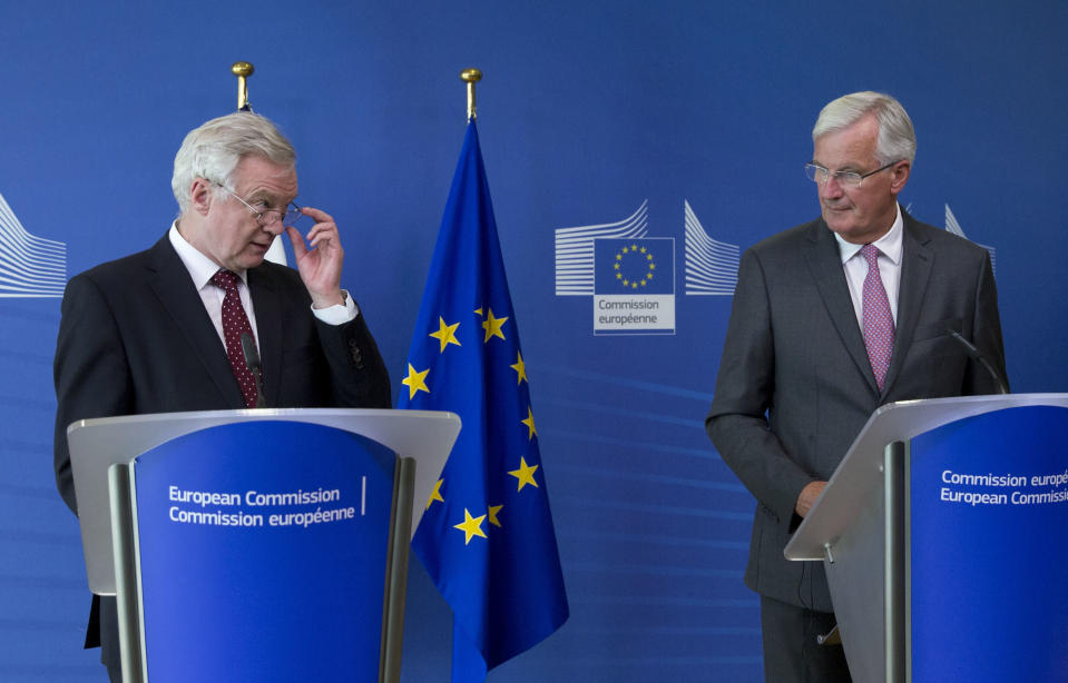 European Union chief Brexit negotiator Michel Barnier, right, and British counterpart David Davis appear to be struggling to find a way forward (AP Photo/Virginia Mayo)