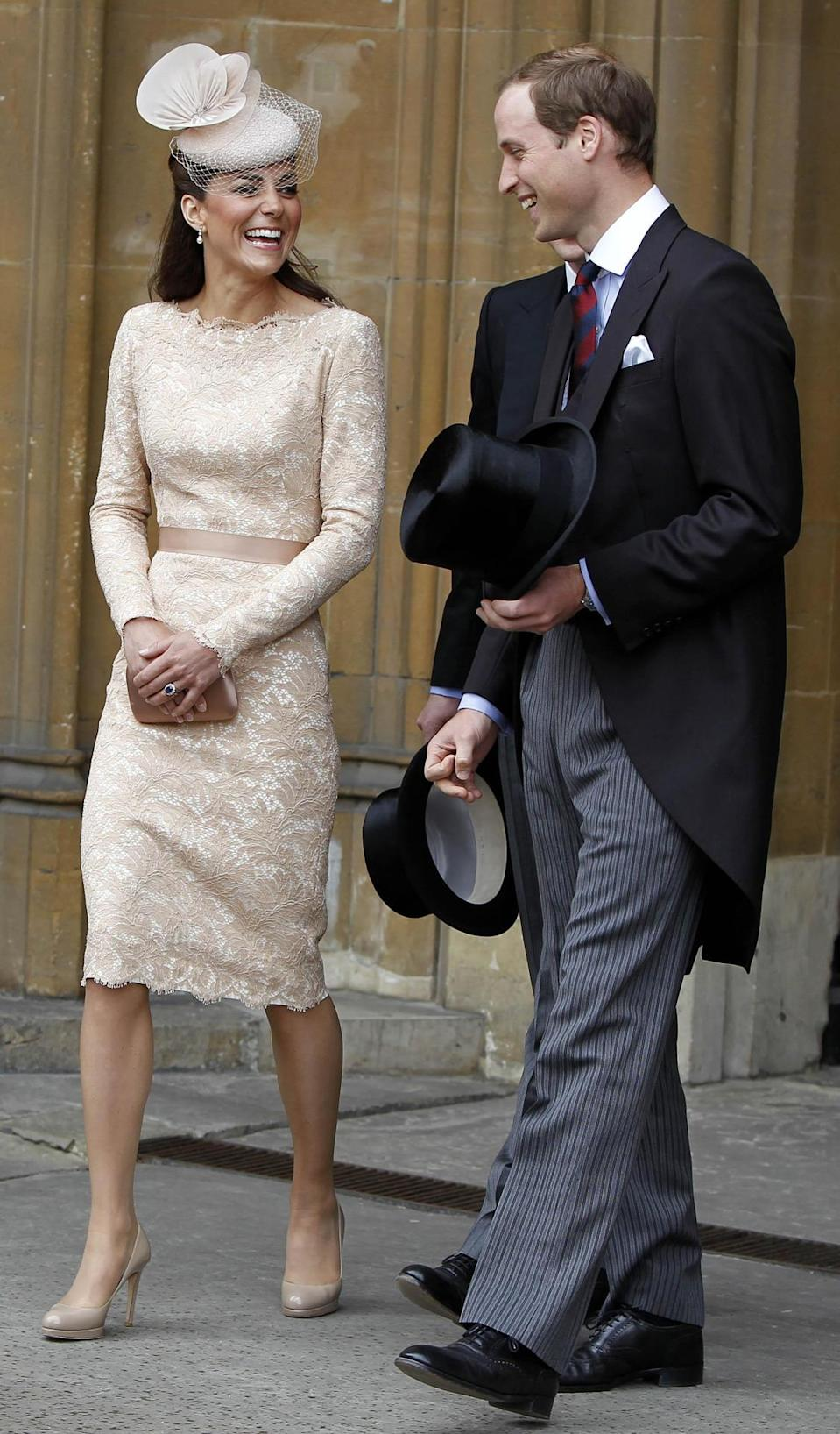 <p>The final Diamond Jubilee celebrations saw Kate in a lacy Alexander McQueen look worn with a nude hat by Jane Taylor. The dress matched the Duchess's Prada clutch perfectly.</p><p><i>[Photo: PA]</i></p>