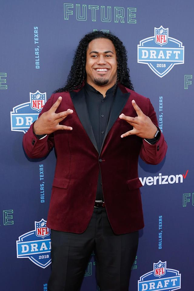 <p>Vita Vea of Washington poses on the red carpet prior to the start of the 2018 NFL Draft at AT&T Stadium on April 26, 2018 in Arlington, Texas. (Photo by Tim Warner/Getty Images) </p>