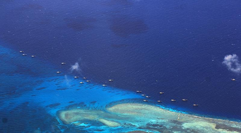 Chinese fishing vessels anchored at Fiery Cross Reef (Kagitingan) on the disputed Spratly islands