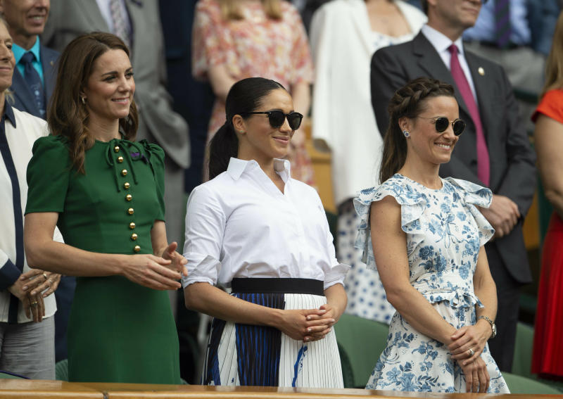 Photo by: KGC-09/STAR MAX/IPx 2019 7/13/19 Catherine, Duchess of Cambridge, Meghan, Duchess of Sussex and Pippa Middleton at the Wimbledon Tennis Championships in London, England.