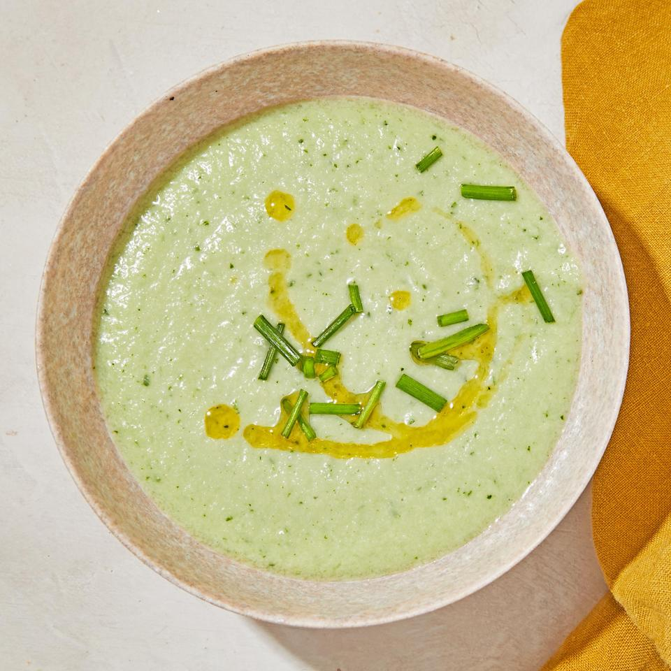 "<p>Silken tofu thickens this cold cucumber soup while letting the flavor of fresh cucumber shine. The herbs and olive oil add an extra layer of flavor to this refreshing soup which will continue to thicken as it chills. But perhaps the best thing about the soup is that it comes together in 10 minutes in your blender! <a href=""https://www.eatingwell.com/recipe/7893475/vegan-cold-cucumber-soup/"" rel=""nofollow noopener"" target=""_blank"" data-ylk=""slk:View recipe"" class=""link rapid-noclick-resp""> View recipe </a></p>"