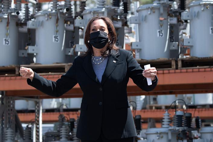 Vice President Kamala Harris takes part in a discussion of broadband internet at the New Hampshire Electric Co-op in Plymouth on April 23.