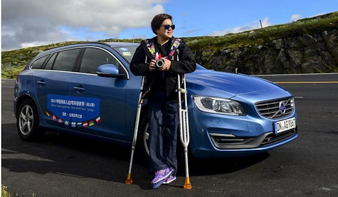 Yu drives a modified car, using her hands to manipulate the accelerator and brake. Photo: Yu Lina