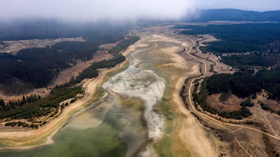 An aerial view of a dried area of the Penuelas Lake, in Valparaiso, Chile, on January 22, 2020.