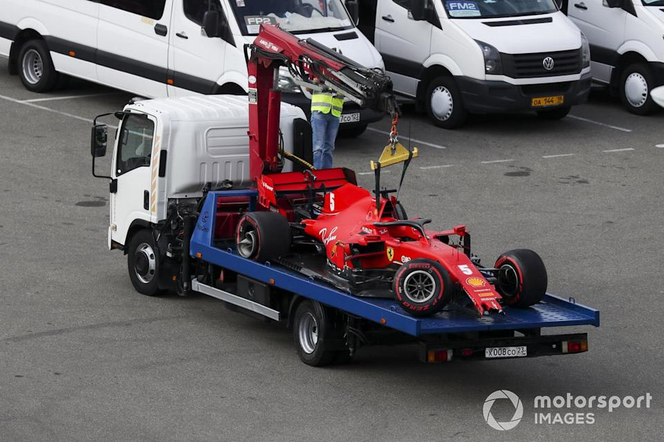 "Car of Sebastian Vettel, Ferrari SF1000 being returned after crashing in qualifying<span class=""copyright"">Charles Coates / Motorsport Images</span>"